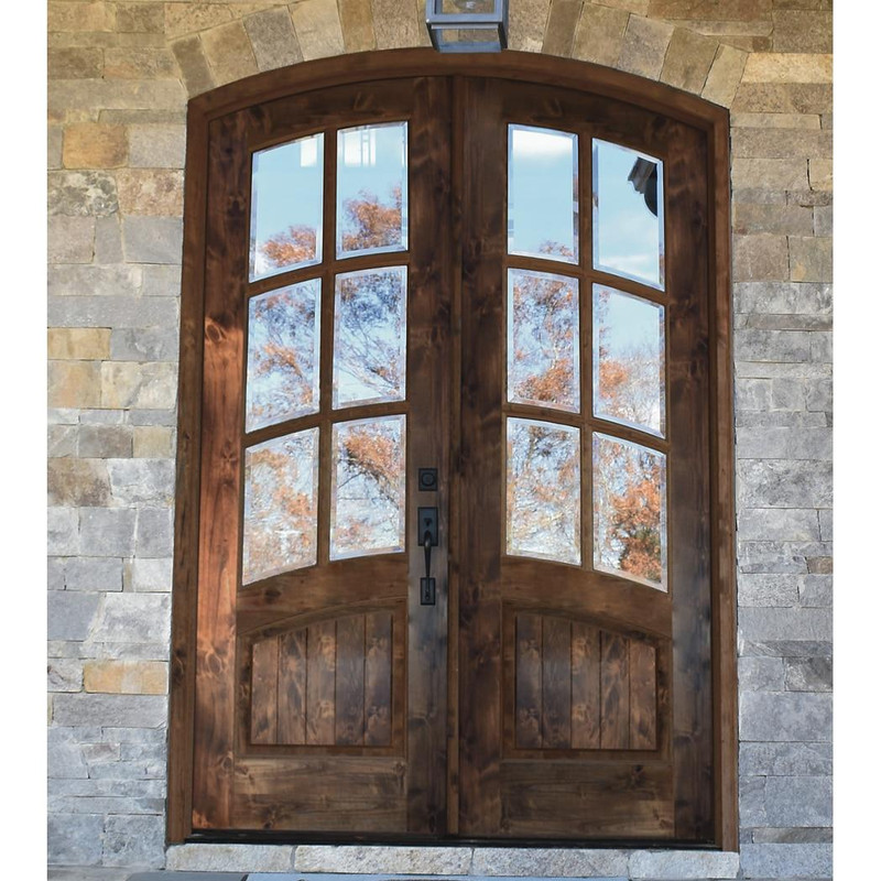 Grand Entry Doors Nantahala 6 Lite Knotty Alder Arch-Top Double Entry Door