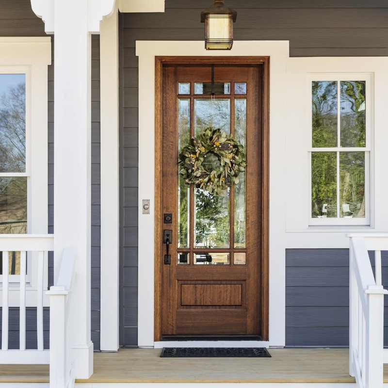 Grand Entry Doors Andalucia 9-Lite Prairie Style True Divided Lite Single Entry Door
