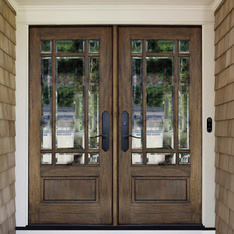 Grand Entry Doors Andalucia 9-Lite Prairie Style True Divided Lite Double Entry Door