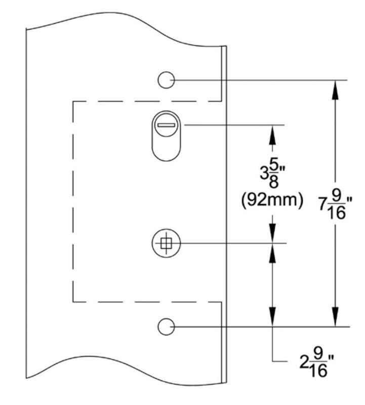 Grand Entry Doors MULTI-POINT LOCKING MECHANISM GU-2 - American Cylinder Hub Above Handle 3-5⁄8 Center-to-Center
