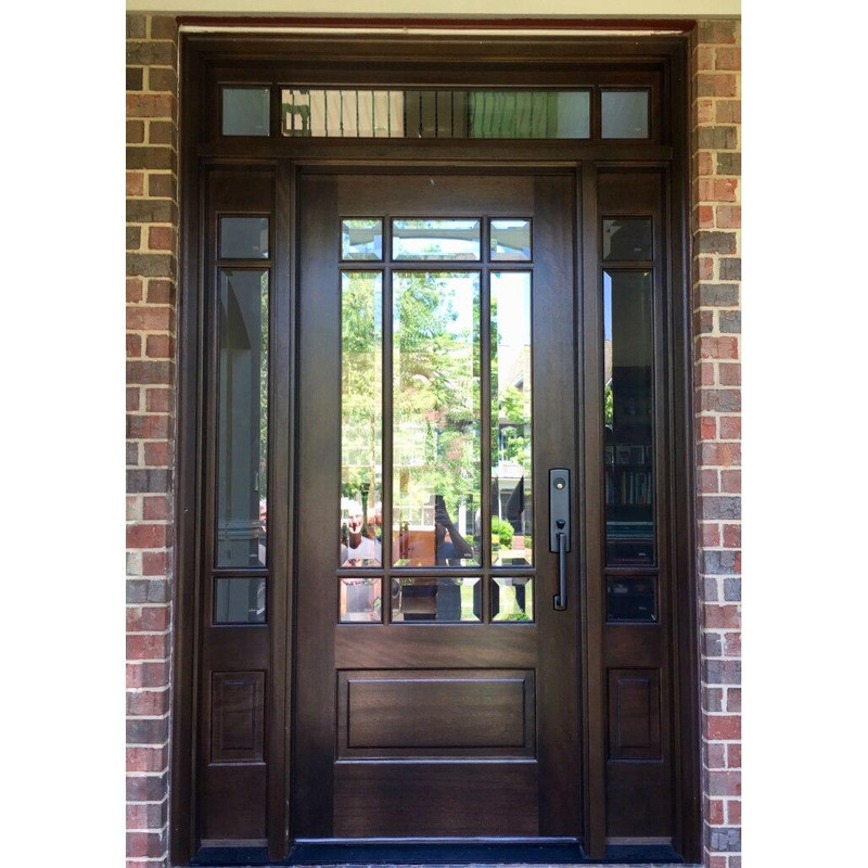 Grand Entry Doors Andalucia 9 Lite Prairie Style Entry Door with Sidelites and Transom