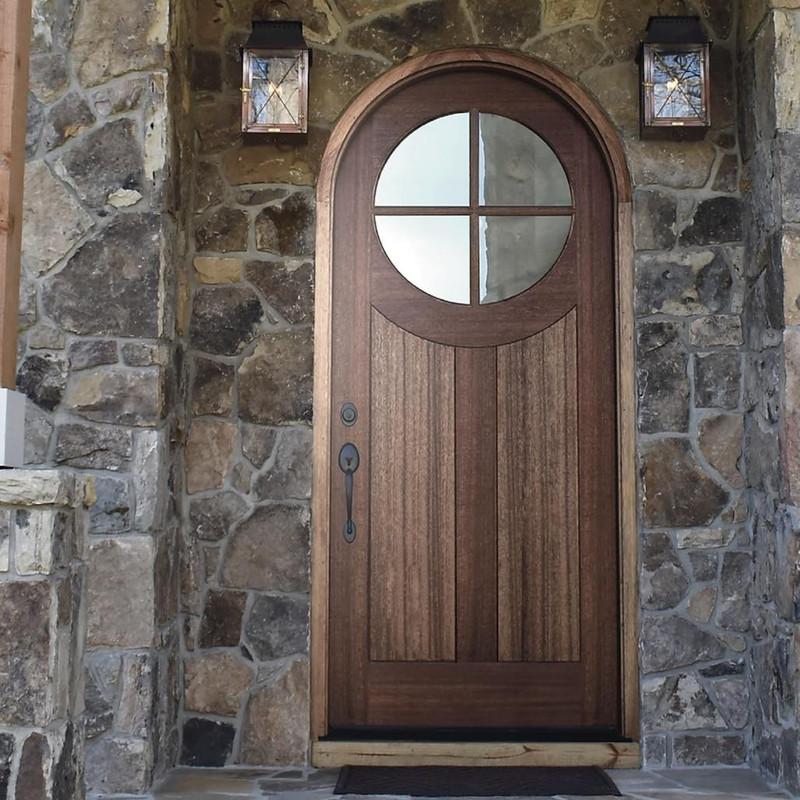 Grand Entry Doors Tupelo 36 x 80 4 Lite Half-Round Mahogany Entry Door