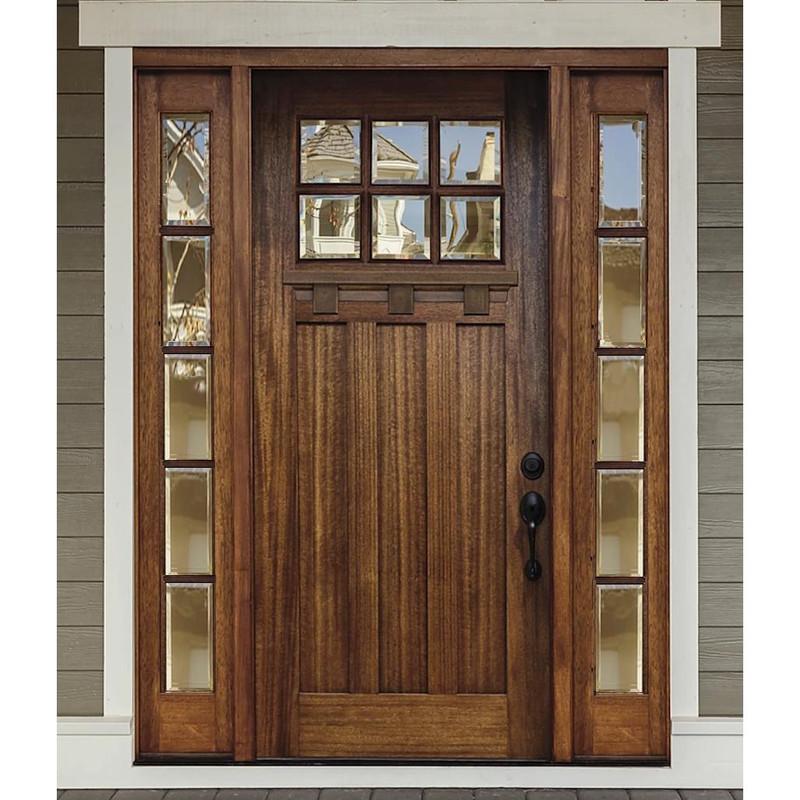 Grand Entry Doors Palermo Craftsman 6 Lite Mahogany Door with 5 Lite Sidelites
