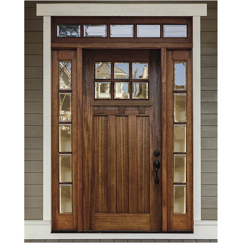 Grand Entry Doors Palermo 6 Lite Mahogany Door with 5 Lite Sidelites and Transom