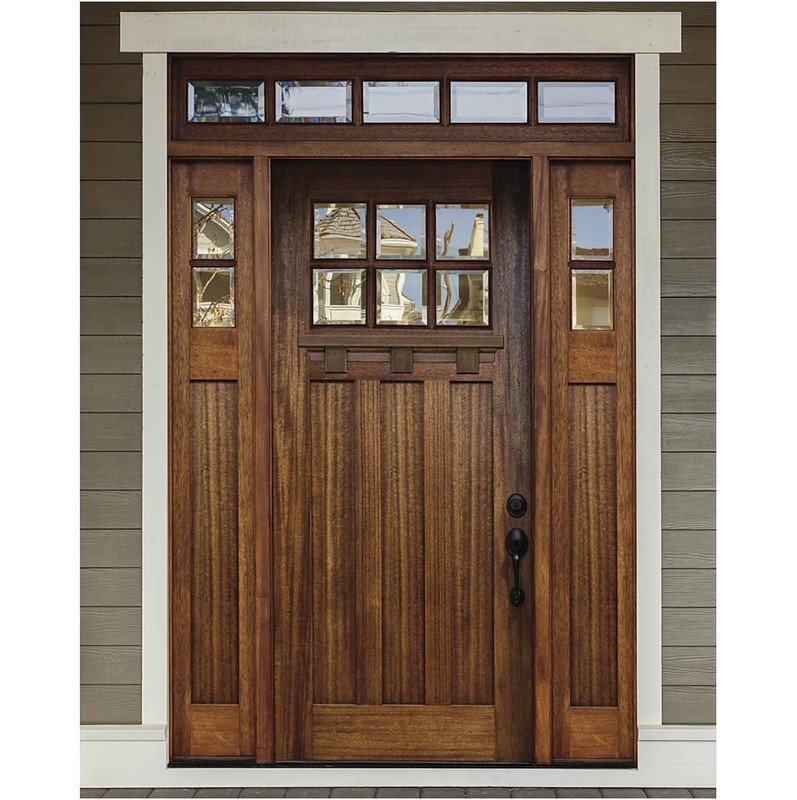 Grand Entry Doors Palermo Craftsman 6 Lite Mahogany Door with Sidelites and Transom