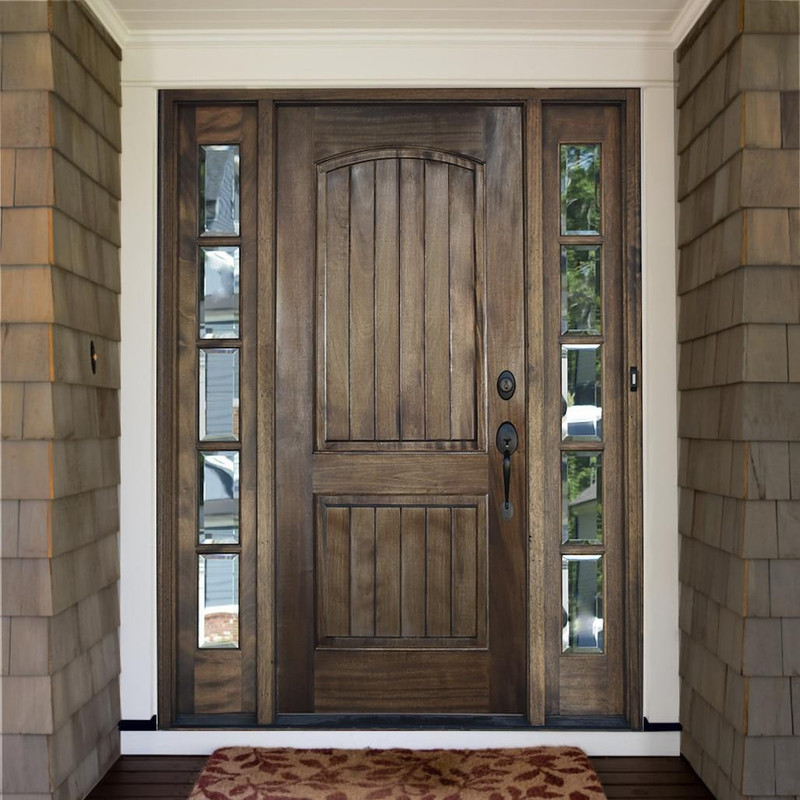 Grand Entry Doors Ventura Solid Panel Mahogany Entry Door with Sidelites