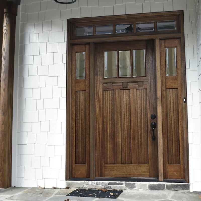 Grand Entry Doors Palermo Craftsman 3 Lite Mahogany Door with Sidelites and Transom
