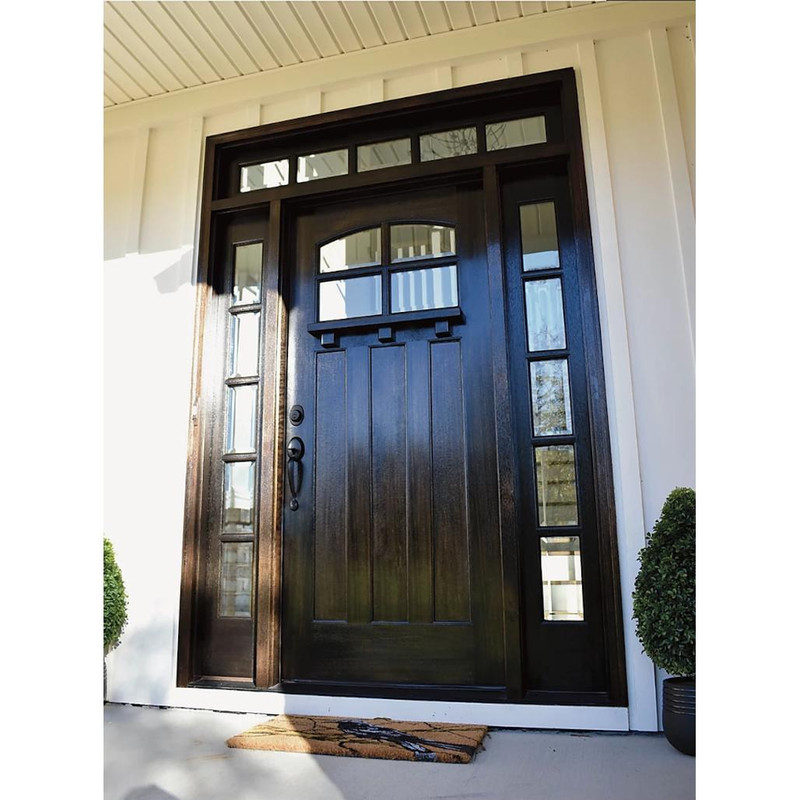 Grand Entry Doors Rivera 4 Lite Mahogany Door with Sidelites and Transom