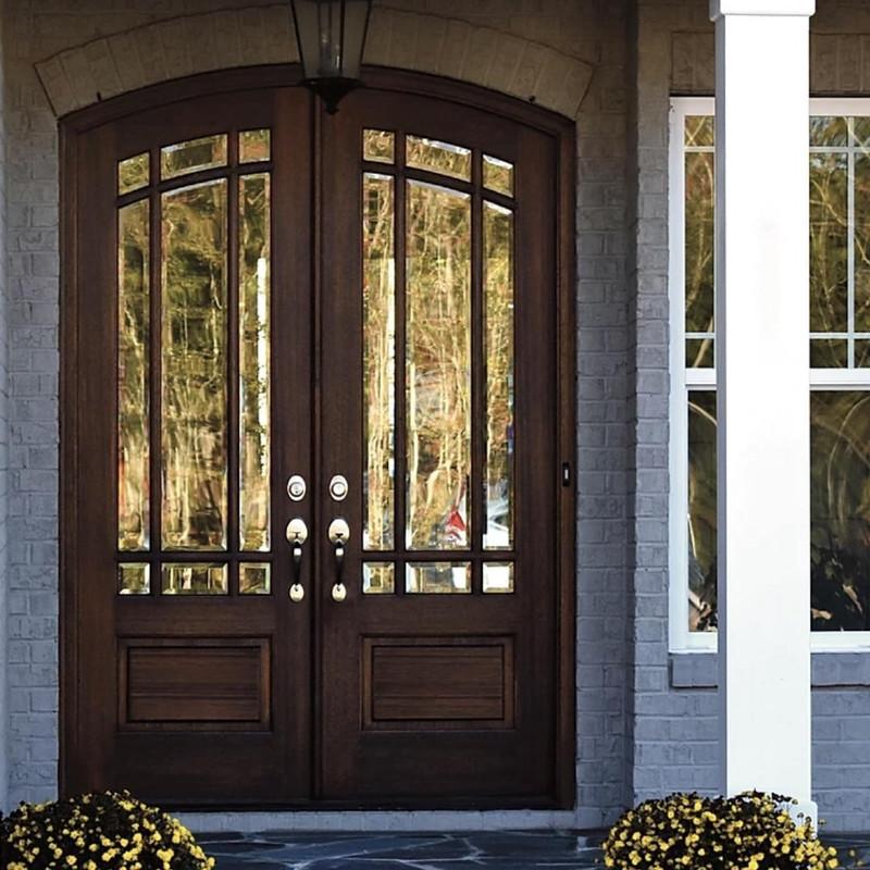 Grand Entry Doors Miranda 9 Lite Arch-Top Mahogany Double Entry Door