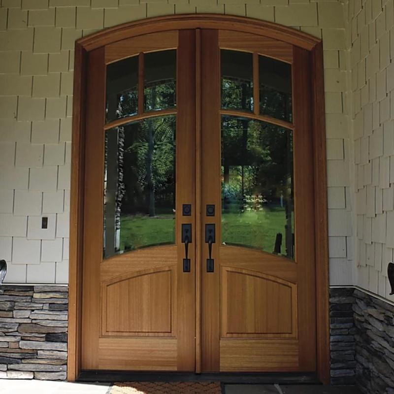 Grand Entry Doors Florencia 3 Lite Arch-Top Mahogany Double Entry Door