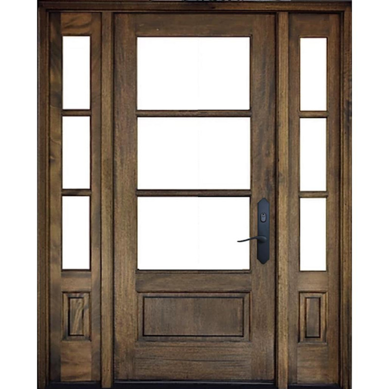 Grand Entry Doors Andalucia 3 Lite 1W3H True Divided Lite Entry Door with Sidelites
