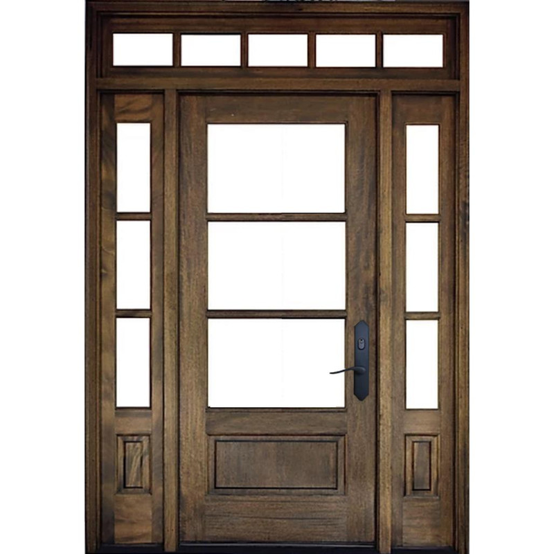 Grand Entry Doors Andalucia 3 Lite 1W3H True Divided Lite Entry Door with Sidelites and Transom