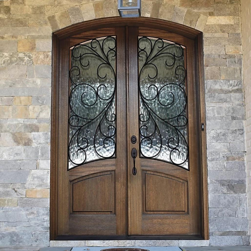 Grand Entry Doors Florencia RS Arch-Top Double Entry Door With Iron