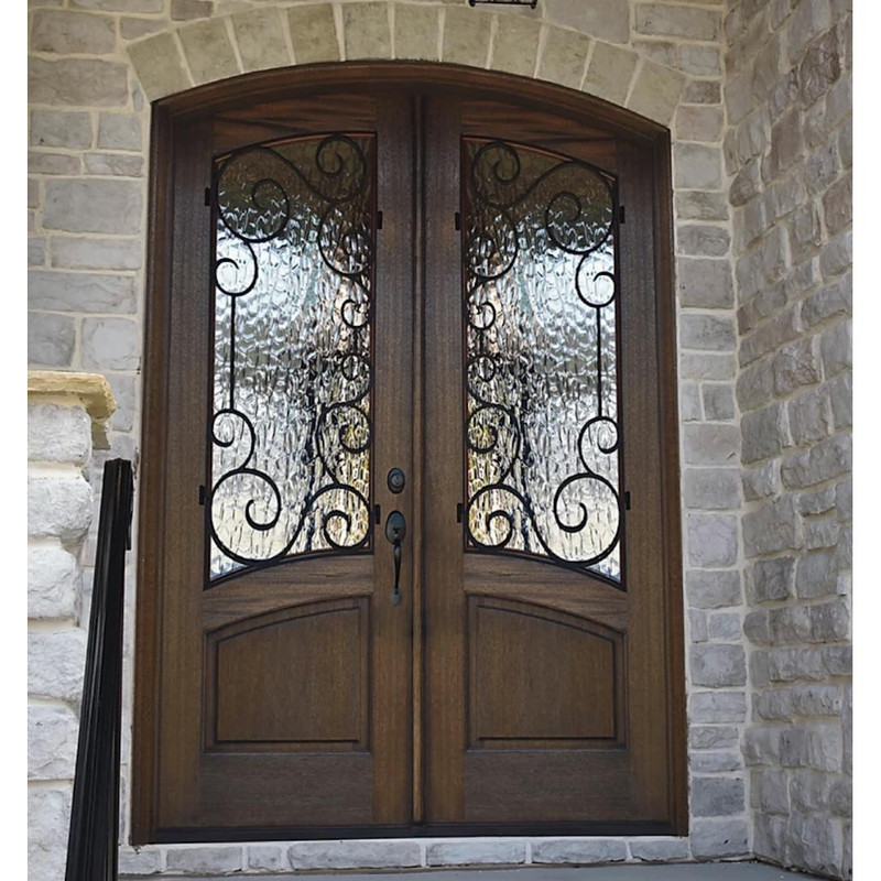 Grand Entry Doors Arch-Top Florencia OC Mahogany and Iron Double Entry Door