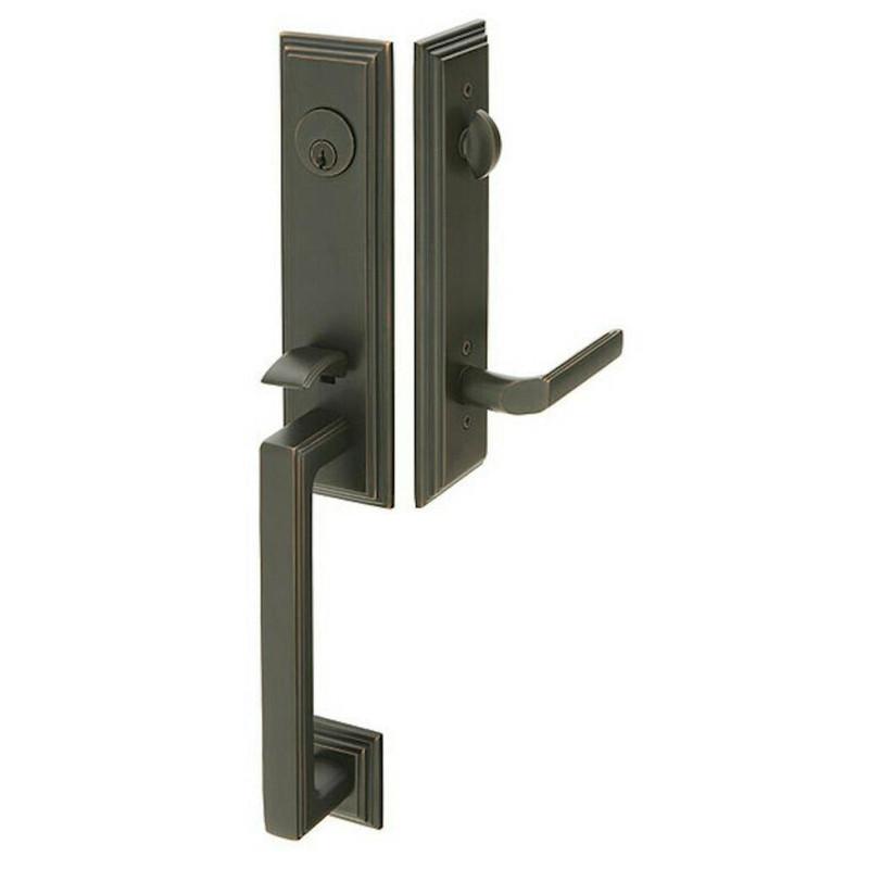 Grand Entry Doors Tubular - Emtek Wilshire Brass Tubular Entryset with Milano Lever- Available in Flat Black or Satin Nickel