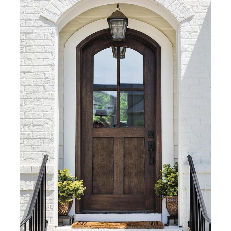 Grand Entry Doors Ridgeland 36 x 80 4 Lite Arch-Top Mahogany Entry Door