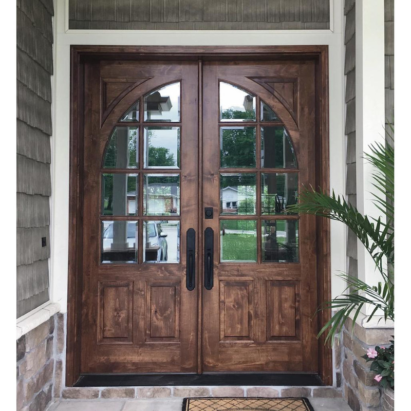 Grand Entry Doors Highlands True Divided Lite Mahogany or Knotty Alder Double Entry Door