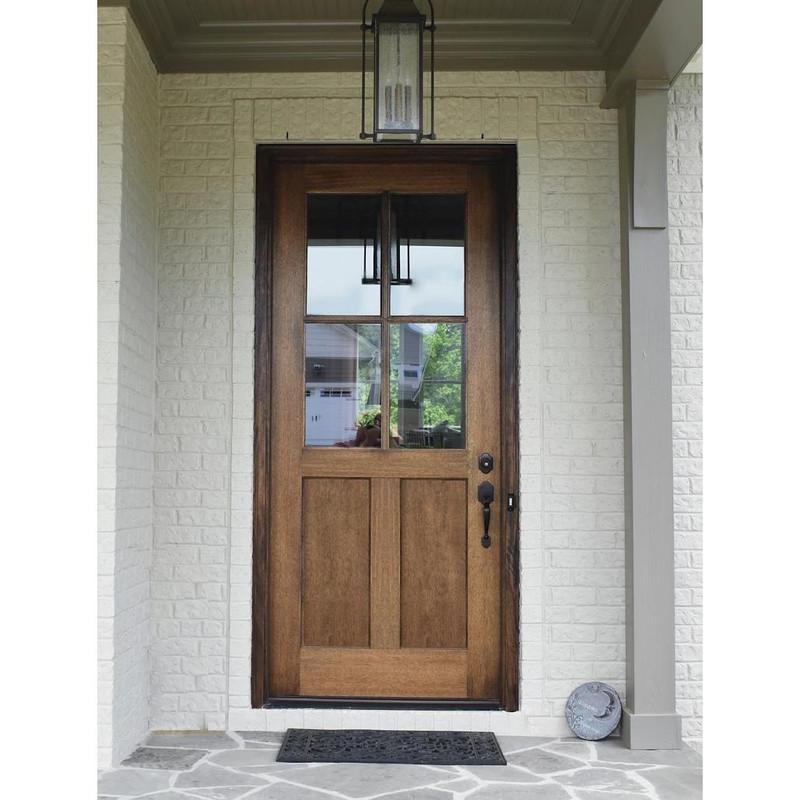 Grand Entry Doors Meridian 4-Lite True Divided Lite Mahogany Single Entry Door