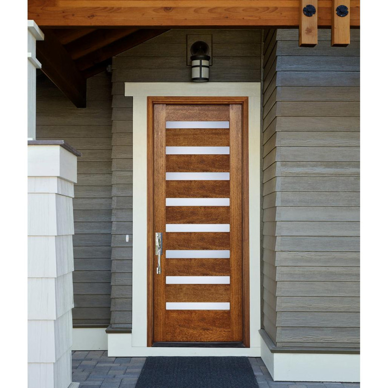 Grand Entry Doors Portland Contemporary Mahogany Single Entry Door
