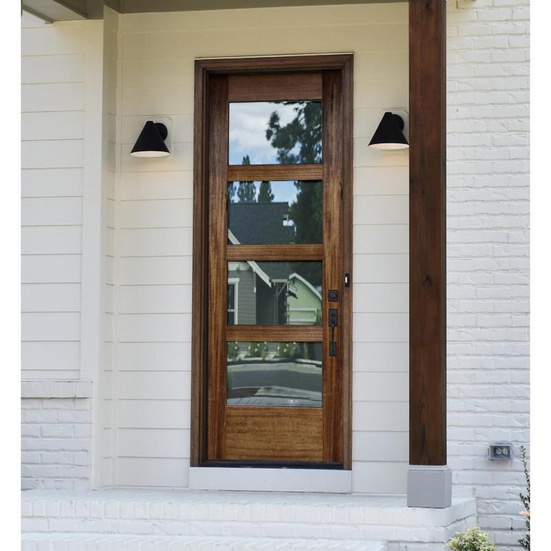 Grand Entry Doors Tacoma 4 Lite Contemporary Mahogany Single Entry Door