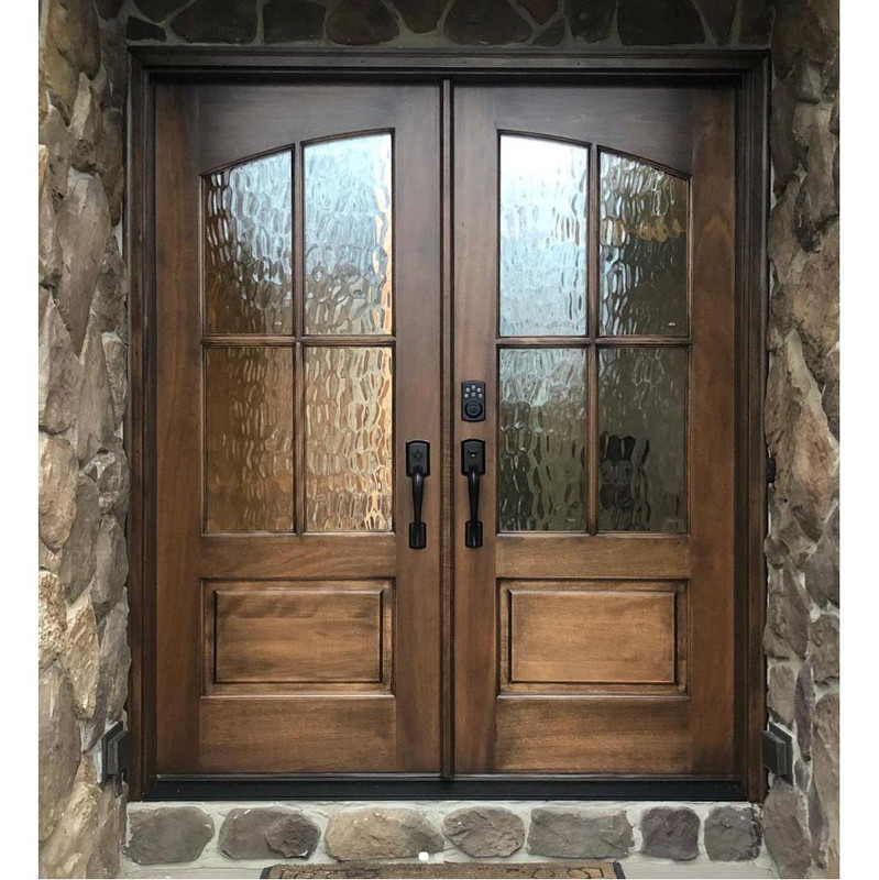 Grand Entry Doors Miranda 4 Lite Square Top Double Entry Door With Arched Glass