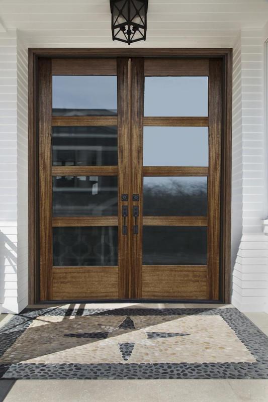 Grand Entry Doors Tacoma 4-Lite Contemporary Mahogany Double Entry Door