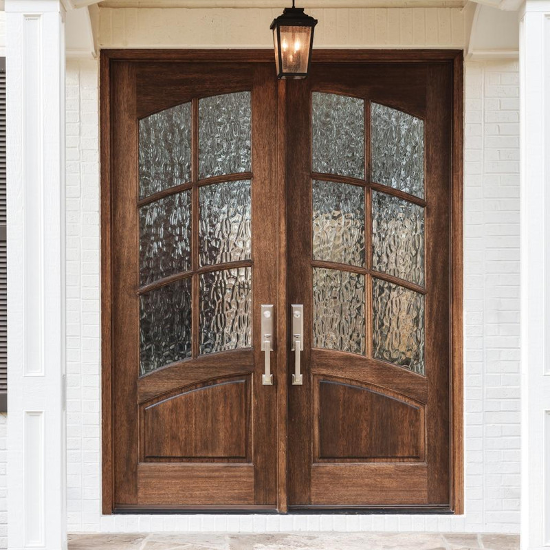 Grand Entry Doors Mahogany Florencia 6 Lite True Divided Lite Square Top Double Entry Door With Arched Glass