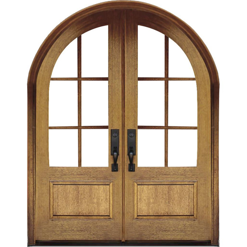 Grand Entry Doors Grand Entry 6-Lite True Divided Lite Half-Round Double Entry Door