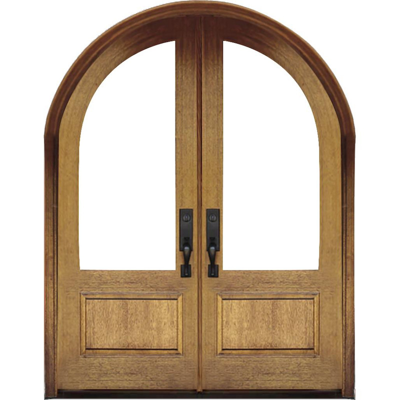 Grand Entry Doors Grand Entry 1-Lite Half-Round Double Entry Door