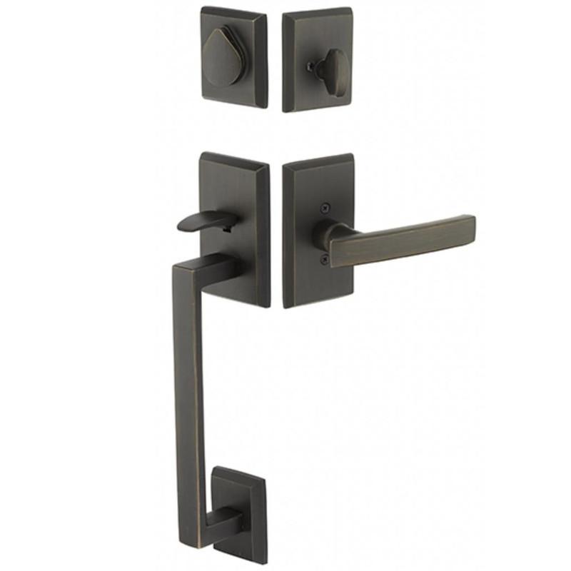 Grand Entry Doors Tubular - Sandcast Bronze Rustic Modern Rectangular Sectional Tubular Entry Set