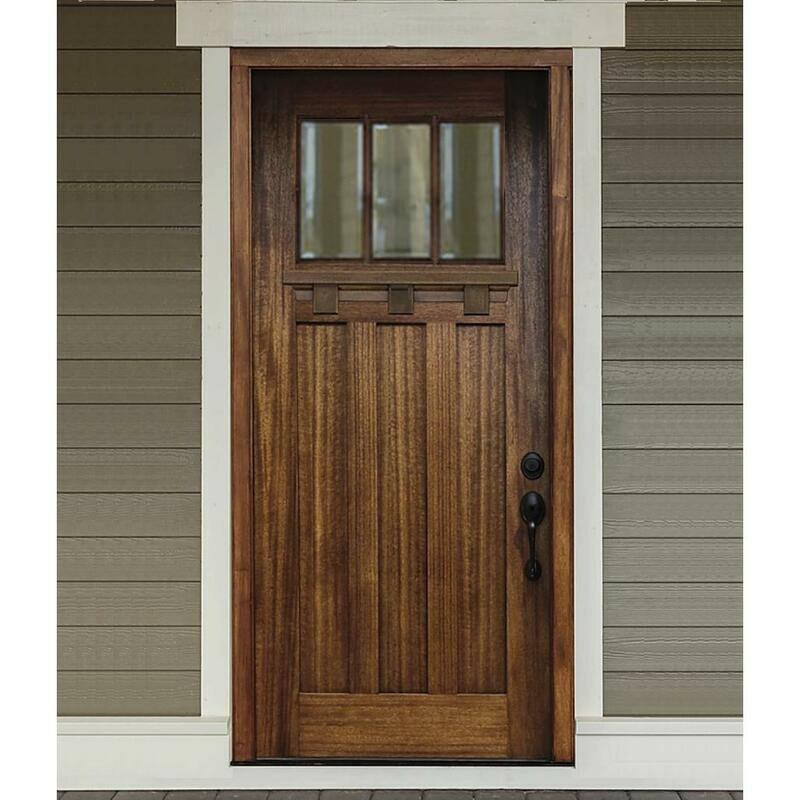Grand Entry Doors Palermo 3-Lite Craftsman Entry Door