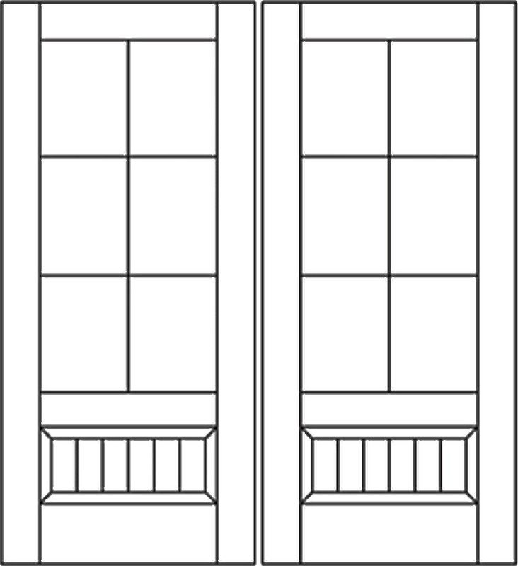 Grand Entry Doors - Santa Fe 6-Lite Knotty Alder True Divided Lite Double Entry Door