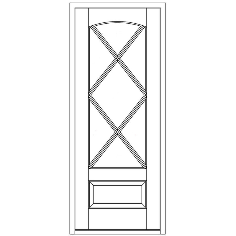 Miranda 7 Lite Square Top Single Entry Door With Arch Glass