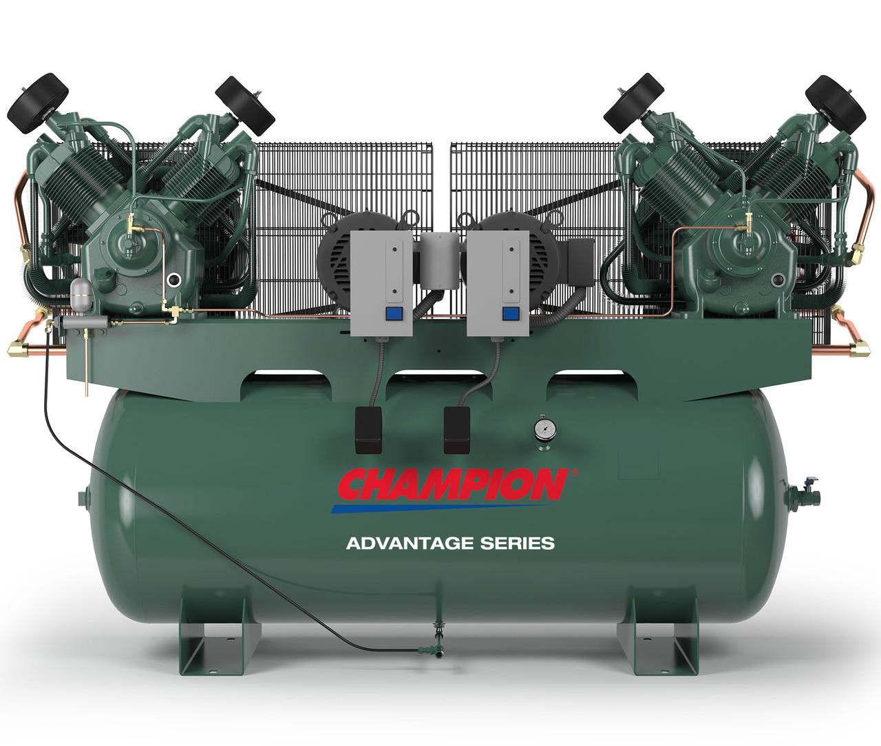 Champion HR7D-12ADV-1 7 5 HP Horz Tank Duplex 1 Ph Air Compressor