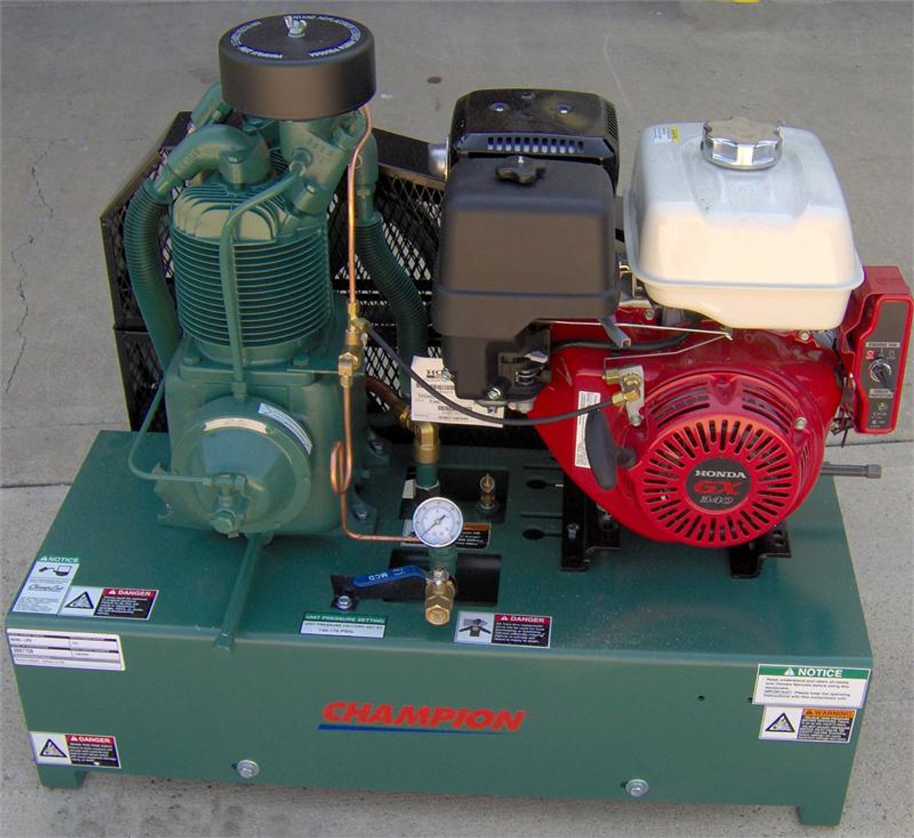 Champion HGR7-LPH Two Stage Reciprocating Service Truck Air Compressor  (Honda Engine) - Free Shipping