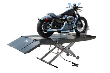 Titan SDML-1000D-BG-XLT 1000 lb  Air Operated Motorcycle Lift With Vise &  Side Extensions Package