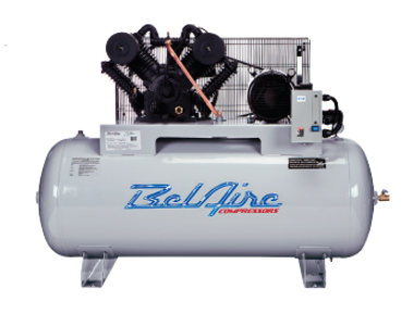 BelAire 6312H 10 HP, 208-230 Volt, 3 PH, 120 Horizontal Two Stage Electric Iron Series Compressor