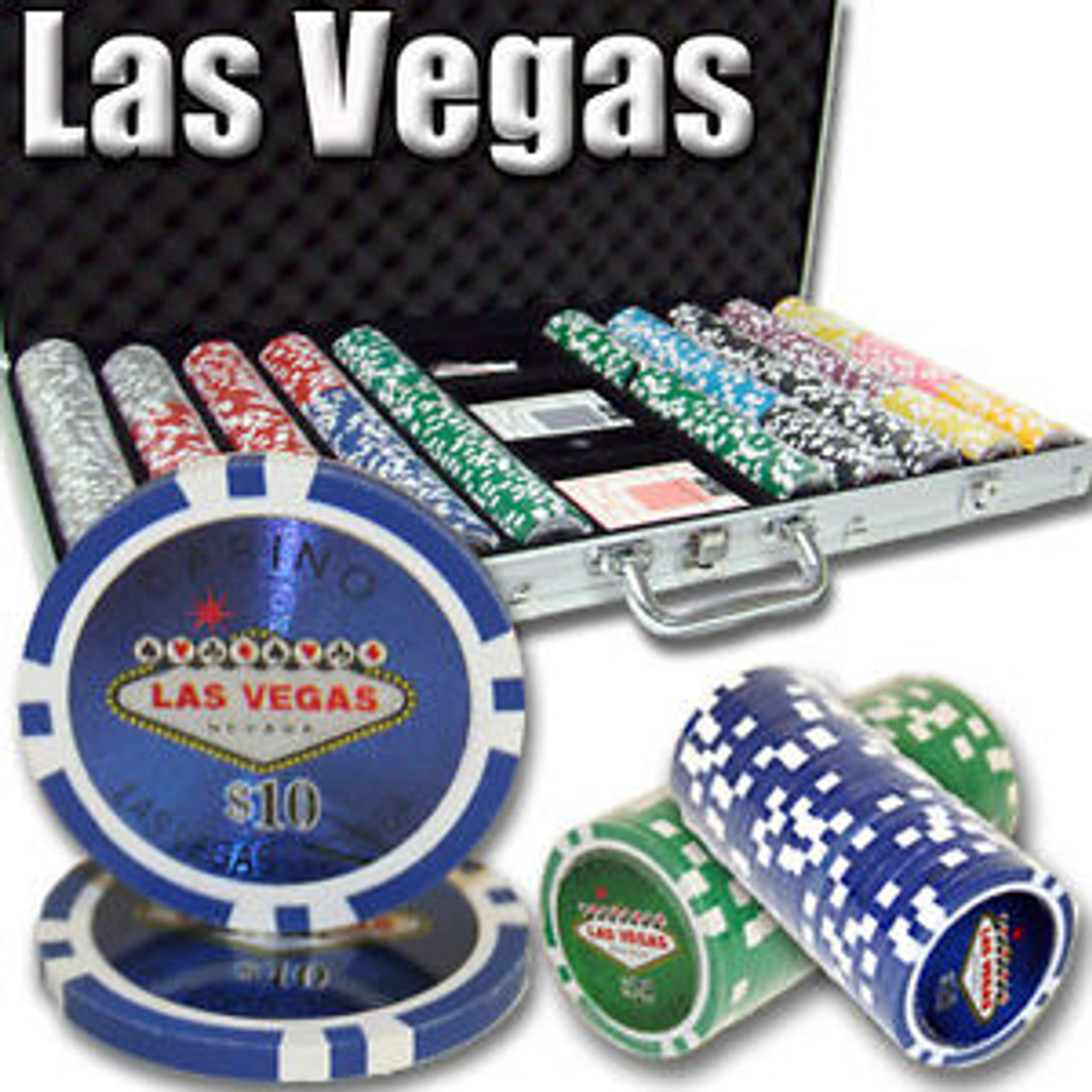 Poker Chip Set Las Vegas Casino 500pc 11.5g with Case & FREE OFFER