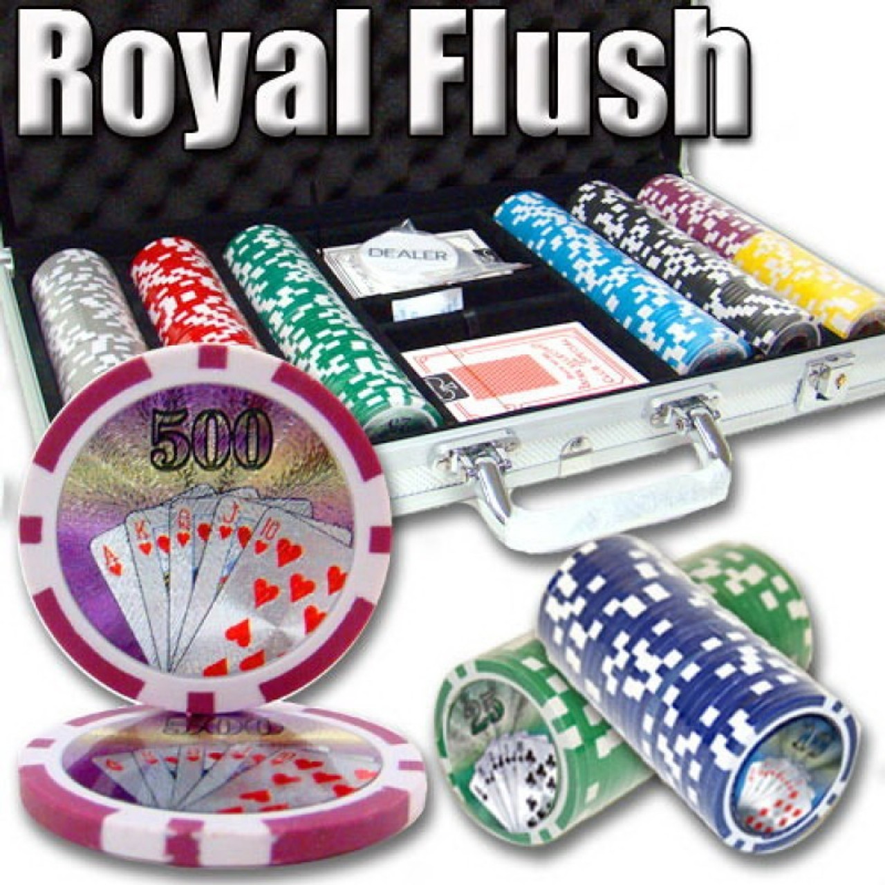 Poker Chip Set Royal Flush 500pc 11.5g with Carry Case & FREE OFFER