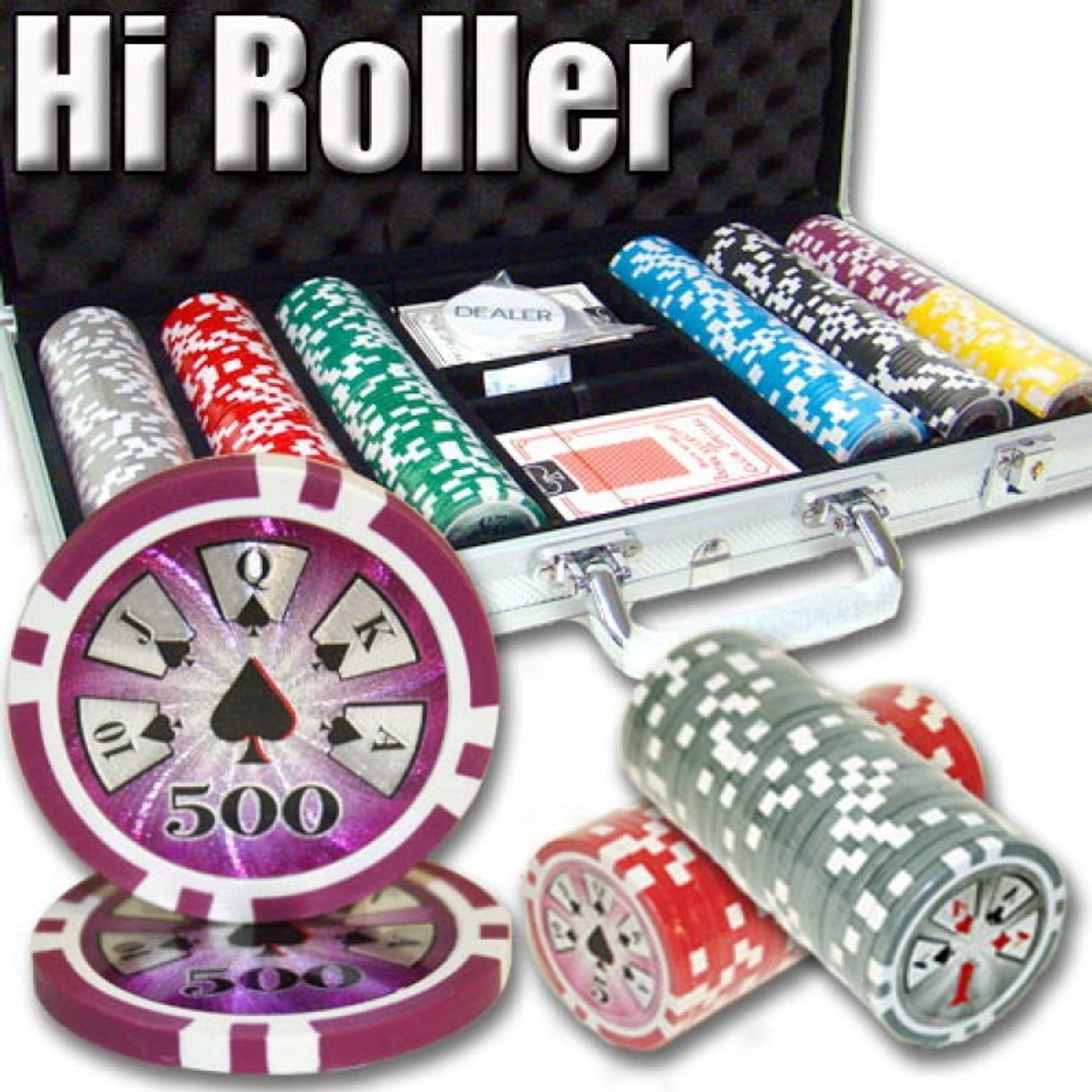 Poker Chip Set High Roller 500pc 14g Clay with Carry Case & FREE OFFER