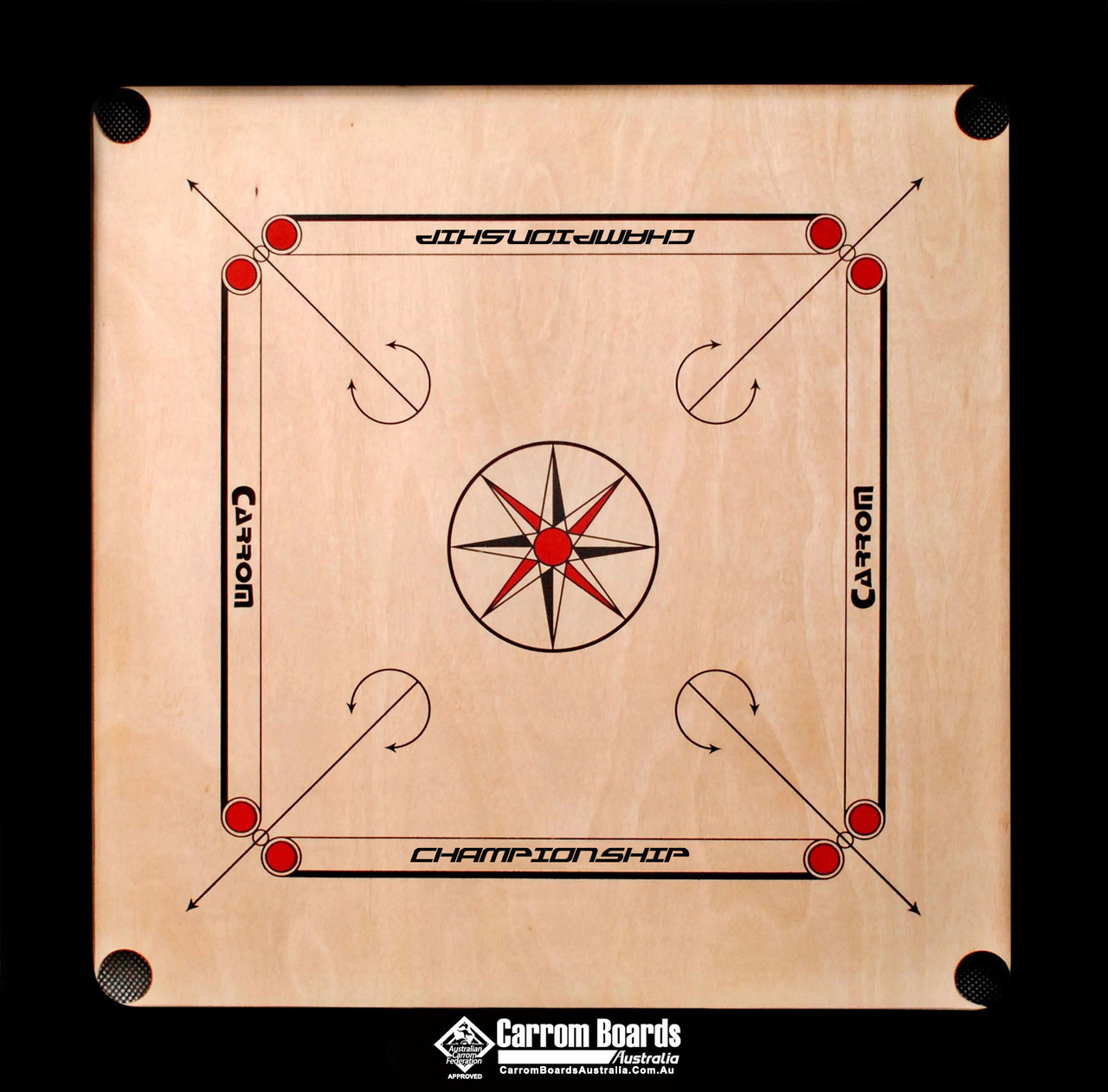 Carrom Board 89cmx89cm CHAMPIONSHIP BLACK & REGULATION STAND PLUS FREE PACKAGE OFFERS