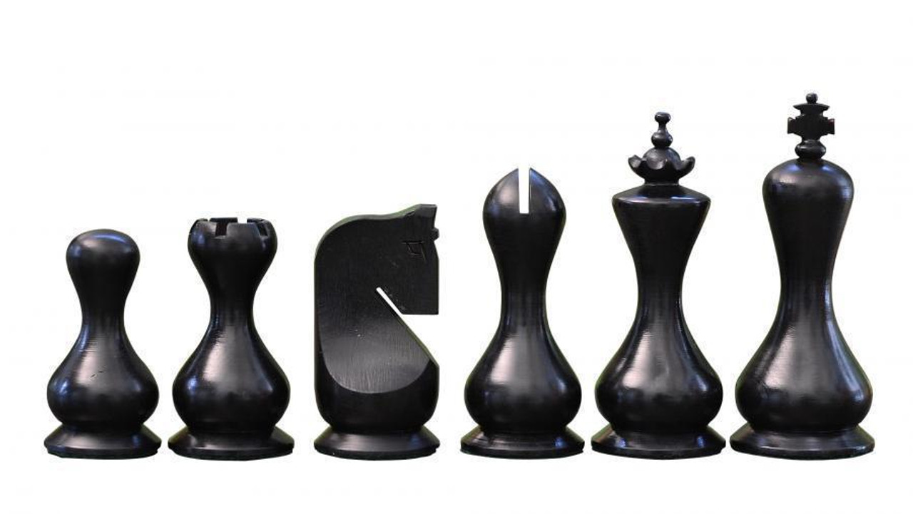 """Hourglass Antique Design Wooden Chess Pieces Set with 95mm (3.75"""") King in ANTIQUE BLACK & FREE OFFERS"""