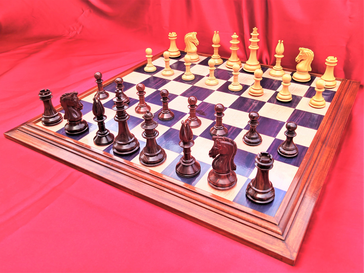 """Royal Knights of Camelot Staunton Luxury Chess set with 102mm (4.00"""") King in Rosewood, 53cm (21"""") Chess Board & FREE OFFERS"""