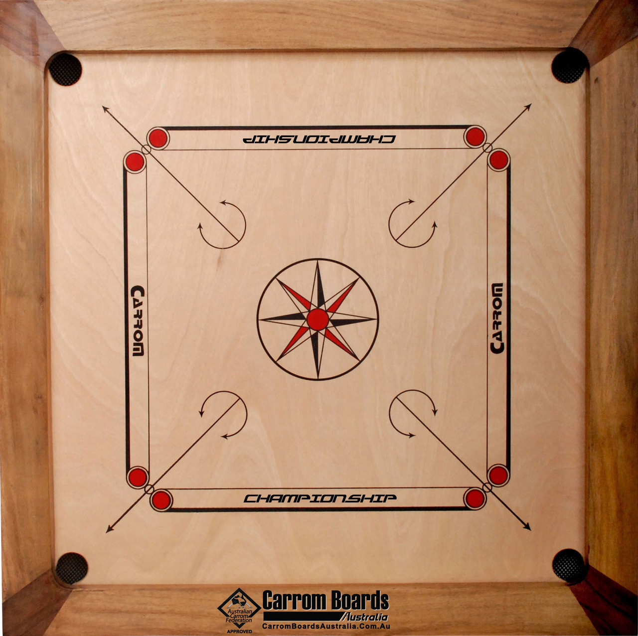 Carrom Board 89cmx89cm CHAMPIONSHIP NATURAL & REGULATION STAND PLUS FREE PACKAGE OFFERS