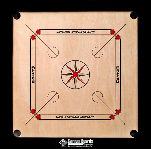 Carrom Board 89cmx89cm CHAMPIONSHIP BLACK & FREE PACKAGE OFFERS