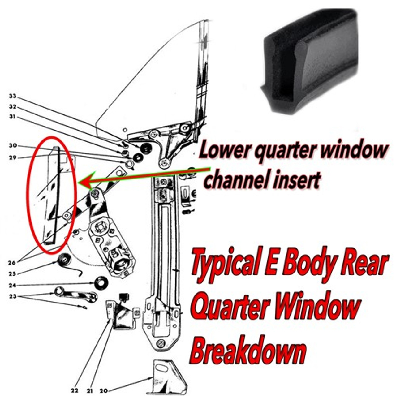 Quarter Window Run Channel Weatherstrip Seal Gasket