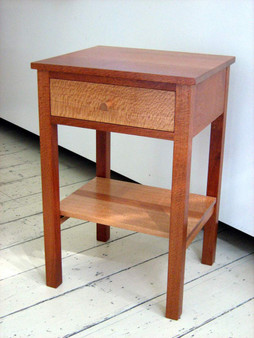 Silky Oak bedside table, drawer and shelf