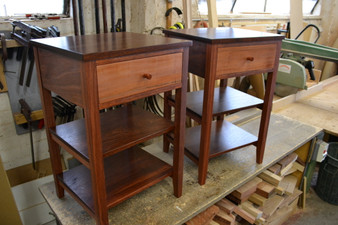 Jarrah Bedside with Myrtle drawer and two shelves
