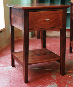 Jarrah bedside with drawer and shelf