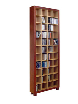 4x11 CD cabinet, Redgum and Clear, Barbi